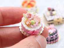 Load image into Gallery viewer, Pink Rose Cake with Cookies and Pistachio Macaron - Miniature Food in 12th Scale for Dollhouse