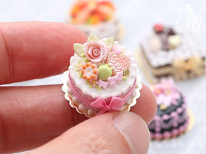 Pink Rose Cake with Cookies and Pistachio Macaron - Miniature Food in 12th Scale for Dollhouse