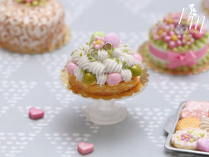 Pink and Pistachio St Honoré French Pastry - Decorated with Macarons - Miniature Food for Dollhouse