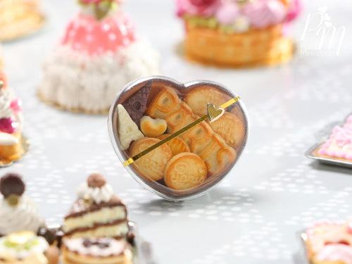 Paris-themed Cookies and Chocolate in Heart-shaped Gift Box - Miniature Food