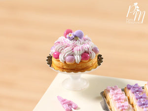 Pink St Honoré and Macaroons French Pastry - Miniature Food for Dollhouse 12th scale