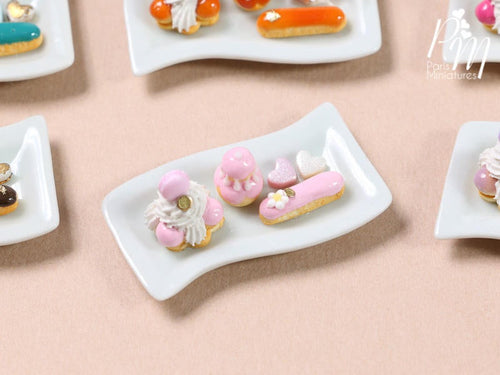 Classic French Pastries/Desserts on Plate (Pink) - St Honoré, Religieuse, Eclair - Miniature Food