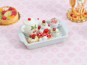 Cherry Themed French Pastry Teatime Set - Miniature Food in 12th Scale for Dollhouse
