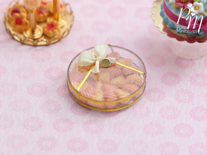 Heart-Shaped Butter Cookies and Pink Cookies ('Biscuits Rose de Reims') in Box - Miniature Food