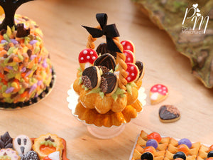 Autumn Basket Cake Filled with Novelty Chestnut and Toadstool Cookies - Miniature Food