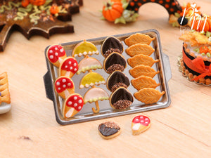 Autumn Cookies on Metal Baking Tray (Toadstool, Umbrella, Chestnut, Leaf) includes 2x Loose Cookies