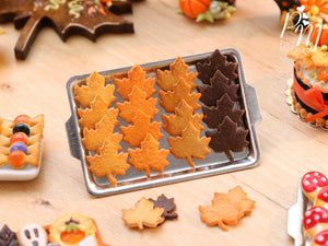 Autumn Leaf Cookies on Metal Baking Tray - Includes 4x Loose Cookies - Miniature Food