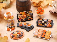 Load image into Gallery viewer, Autumn Leaf Bread, Meringue, Tartlets and Cookies on Metal Baking Tray - 12th Scale Miniature Food