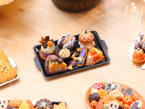 Halloween and Autumn Miniature Pastries and Treats on Black Metal Baking Tray – Miniature Food