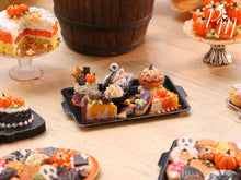 Load image into Gallery viewer, Halloween and Autumn Miniature Pastries and Treats on Black Metal Baking Tray – Miniature Food
