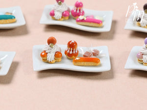 Classic Caramel French Pastries/Desserts on Plate - St Honoré, Religieuse, Eclair - Miniature Food