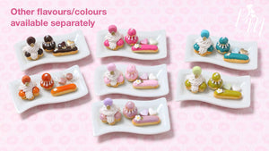 Classic French Pastries/Desserts on Plate (Raspberry) St Honoré, Religieuse, Eclair - Miniature Food