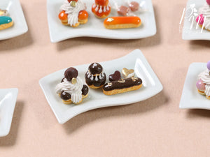 Classic French Pastries - St Honoré, Religieuse, Eclair - Chocolate Selection - Miniature Food