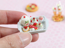 Load image into Gallery viewer, Cherry Themed French Pastry Teatime Set - Miniature Food in 12th Scale for Dollhouse