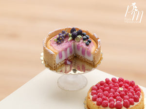 Dark Fruit Cut Cheesecake Decorated with Blackberry, Blueberry, Blackcurrant