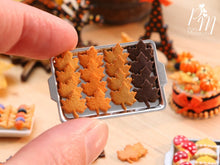 Load image into Gallery viewer, Autumn Leaf Cookies on Metal Baking Tray - Includes 4x Loose Cookies - Miniature Food