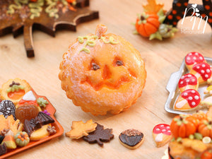 French Pumpkin Galette with Jack O'Lantern Face - 12th Scale Miniature Food