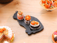 Load image into Gallery viewer, Trio of Autumn Pastries on Black Cat Shaped Tray - 12th Scale Miniature Food