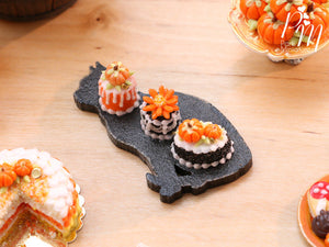 Trio of Autumn Pastries on Black Cat Shaped Tray - 12th Scale Miniature Food