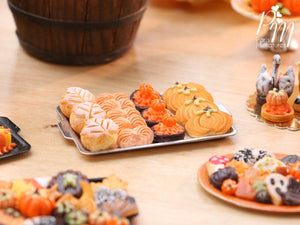 Autumn Leaf Bread, Meringue, Tartlets and Cookies on Metal Baking Tray - 12th Scale Miniature Food
