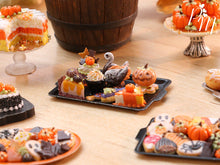 Load image into Gallery viewer, Beautiful Assortment of Halloween and Fall Pastries and Treats on Black Metal Baking Tray - 12th Scale Miniature Food