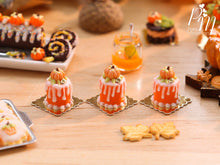 "Load image into Gallery viewer, Individual Autumn/Halloween ""Drip Cake"" Decorated with Pumpkin - Miniature Food"