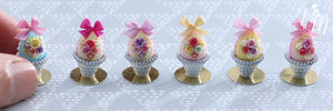Miniature Pastel Candy Easter Egg (B) Decorated with Trio of Handmade Pink Roses in Shabby Chic Pot
