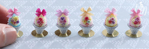 Pastel Candy Easter Egg (E) Decorated with Trio of Handmade Roses in Shabby Chic Pot