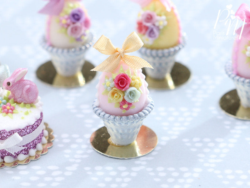 Miniature Food Pastel Candy Easter Egg (D) Decorated with Trio of Handmade Roses in Shabby Chic Pot