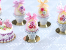 Load image into Gallery viewer, Miniature Food Pastel Candy Easter Egg (F) Decorated with Trio of Handmade Roses in Shabby Chic Pot