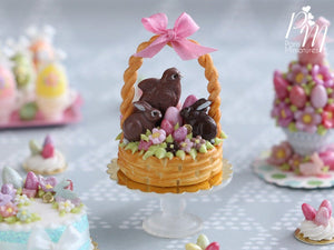 Handmade Miniature Easter Basket Cake - Chocolate Bunnies and Chick - Miniature Food in 12th Scale