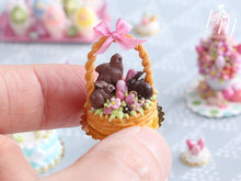 Load image into Gallery viewer, Handmade Miniature Easter Basket Cake - Chocolate Bunnies and Chick - Miniature Food in 12th Scale