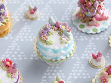 Load image into Gallery viewer, Handmade Miniature Easter Cake Decorated with Eggs, Rabbits, Flowers (C - Aqua/Purple)