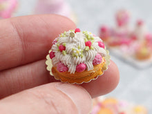 Load image into Gallery viewer, Raspberry St Honoré French Pastry with Pink Choux - Miniature Food for Dollhouse 12th scale