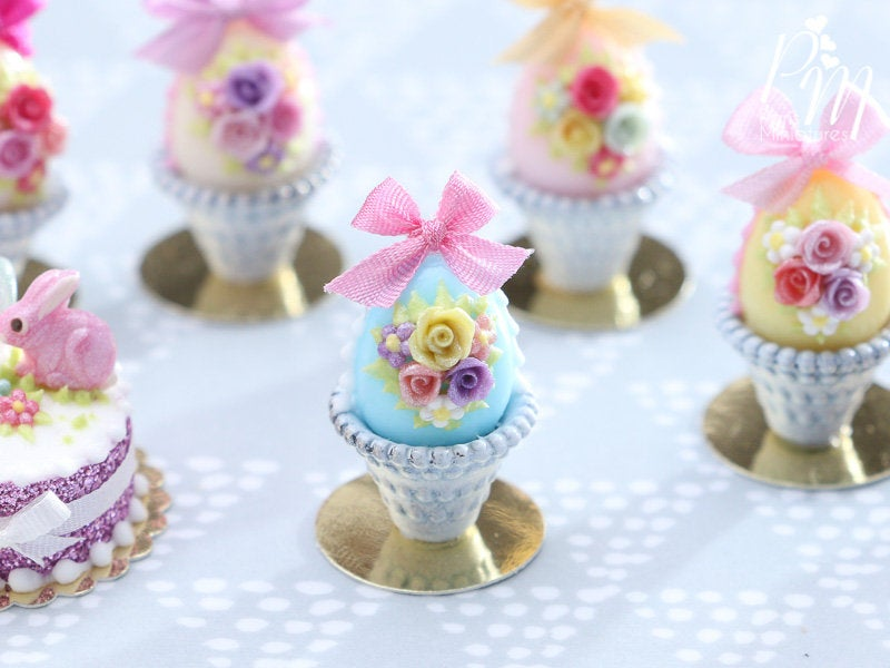 Miniature Food Pastel Candy Easter Egg (A) Decorated with Trio of Handmade Roses in Shabby Chic Pot