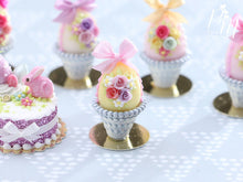 Load image into Gallery viewer, Pastel Candy Easter Egg (E) Decorated with Trio of Handmade Roses in Shabby Chic Pot