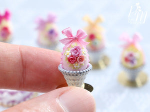 Miniature Food Pastel Candy Easter Egg (F) Decorated with Trio of Handmade Roses in Shabby Chic Pot