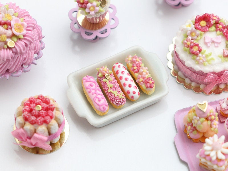 Presentation of Four Beautiful Pink French Eclairs (B) - Miniature Food