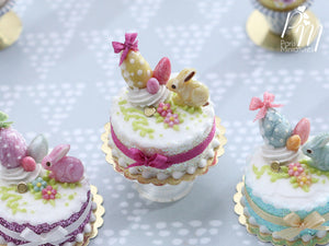 Miniature Easter / Spring Cake Decorated with Yellow Candy Rabbit, Eggs, Blossoms - (C)