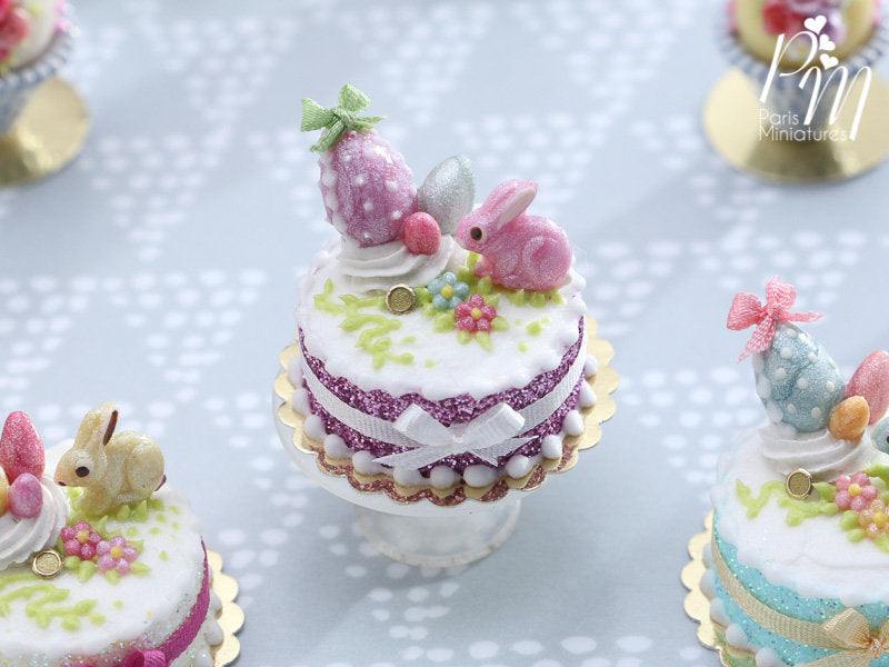 Miniature Easter / Spring Cake Decorated with Pink Candy Rabbit, Eggs, Blossoms (A)
