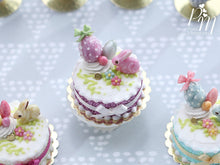 Load image into Gallery viewer, Miniature Easter / Spring Cake Decorated with Pink Candy Rabbit, Eggs, Blossoms (A)