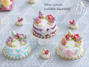 Handmade Miniature Easter Cake Decorated with Eggs, Rabbits, Flowers (A - Pink/Purple)