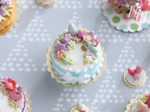 Handmade Miniature Easter Cake Decorated with Eggs, Rabbits, Flowers (C - Aqua/Purple)