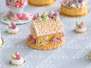 Handmade Miniature Cookie Easter House - Miniature Food in 12th Scale