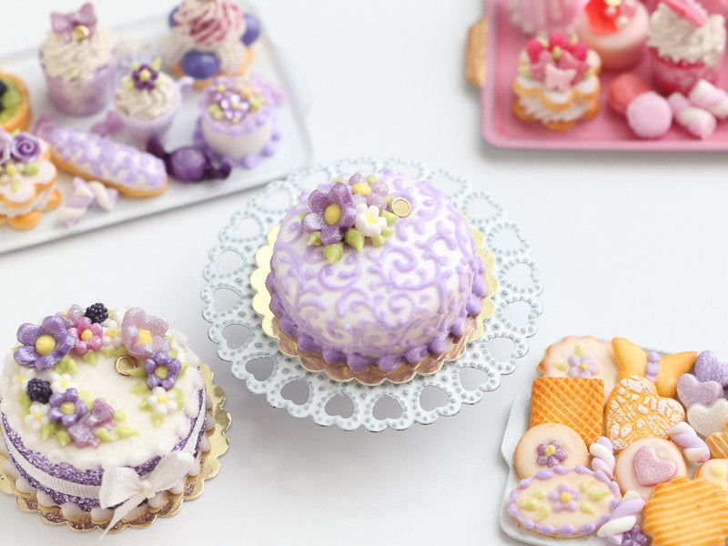 Lilac Arabesque Swirls Cake Decorated with Flowers - Miniature Food in 12th Scale for Dollhouse