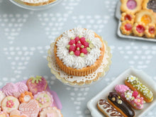 Load image into Gallery viewer, Raspberry Cream Tart - Miniature Food in 12th Scale for Dollhouse