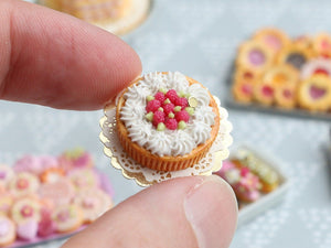 Raspberry Cream Tart - Miniature Food in 12th Scale for Dollhouse