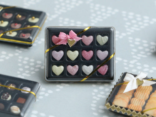 Luxurious Confiserie Box of Heart-Shaped Candy - Miniature Food in 12th Scale for Dollhouse