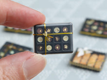 "Load image into Gallery viewer, Luxurious Box of French ""Palet Or"" Chocolates Decorated with real Gold Leaf - Miniature Food"