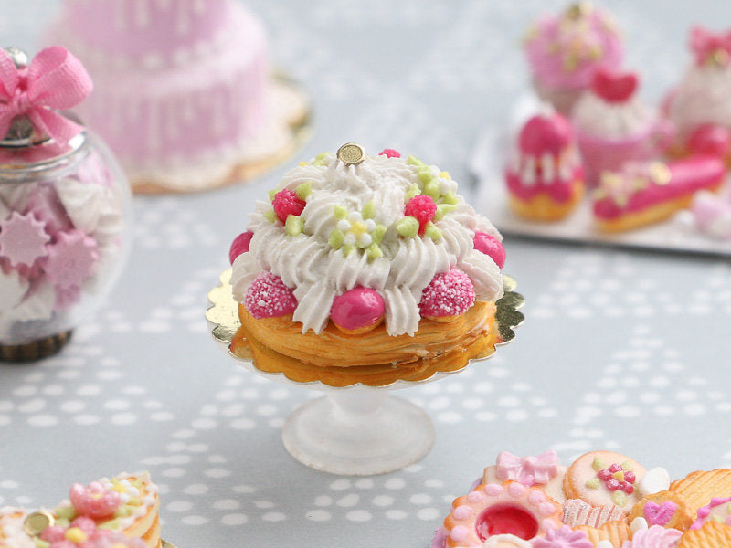Raspberry St Honoré French Pastry with Pink Choux - Miniature Food for Dollhouse 12th scale